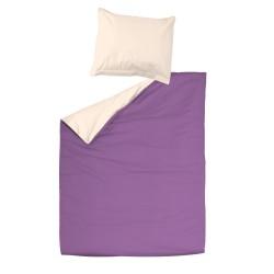 Violet & Ecru Clair - 100% Coton Parure de Lit (Housse de couette Réversible et Taies d'oreiller)