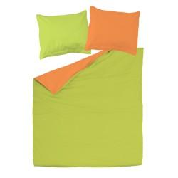 Arancia е Verde - 100% Cotone Biancheria reversibile da letto (Copripiumino e Federe)