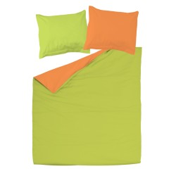 Orange et Vert - 100% Coton parure réversible de lit (Housse de couette et Taies d'oreiller)