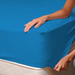 Bleu - Drap Housse / 100% Coton Linge de Lit