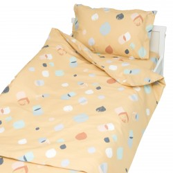 Serena dorée - 100% Coton parure de lit pour bébé (Housse de couette et Taie d'oreiller)