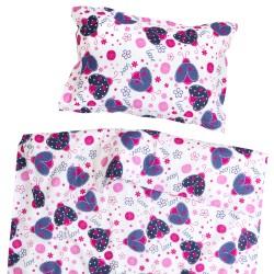 Coccinelle - 100% Coton parure de lit pour bébé (Housse de couette et Taie d'oreiller)