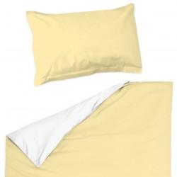 Светло Жълто и Бяло - 100% памук бебешки спален комплект (торба и калъфка)