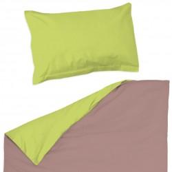 Rose cendré et vert - 100% Coton parure de lit pour bébé (Housse de couette et Taie d'oreiller)
