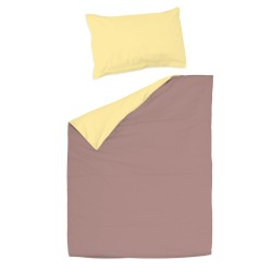 Ash pink and yellow - 100% Cotton Cot / Crib Set (Duvet Cover & Pillow Case)