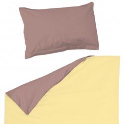 Rose cendré et jaune - 100% Coton parure de lit pour bébé (Housse de couette et Taie d'oreiller)