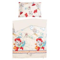 Tommy Le Chat Botté - 100% Coton parure de lit pour bébé (Housse de couette et Taie d'oreiller)