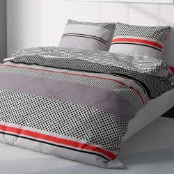 Grid - 100% Coton Parure de Lit (Housse de couette et Taies d'oreiller)