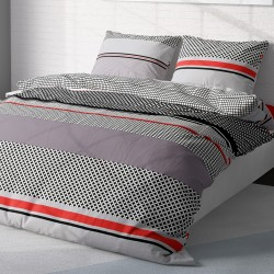 Grid - 100% Cotton Bed Linen Set (Duvet Cover & Pillow Cases)