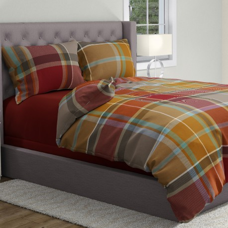 Check - 100% Cotton Bed Linen Set (Duvet Cover & Pillow Cases)