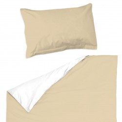 Cappuccino and white - 100% Cotton Cot / Crib Set (Duvet Cover & Pillow Case)