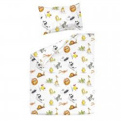 Animaux - 100% Coton parure de lit pour bébé (Housse de couette et Taie d'oreiller)