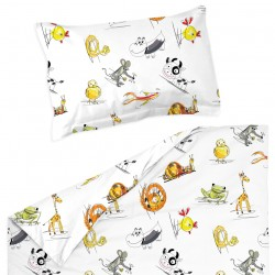 Animals - 100% Cotton Cot / Crib Set (Duvet Cover & Pillow Case)