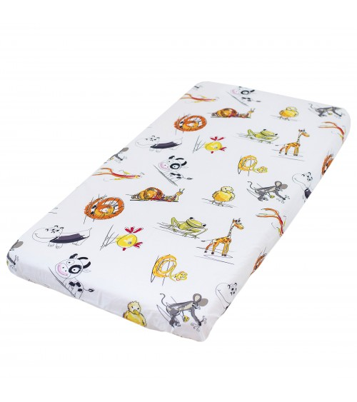 Animals Fitted Sheet Pati'Chou 100% Cotton for baby and kid bed