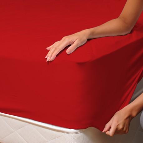 Rouge - Drap Housse / 100% Coton Linge de Lit