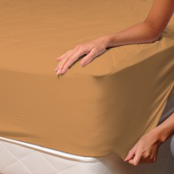 Light Ochre (Safari) - Fitted Sheet / 100% Cotton Bedding