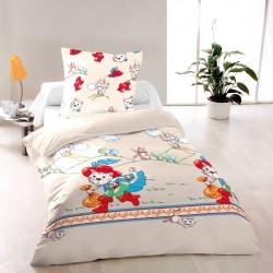 Котаракът в чизми - 100% памук детски спален комплект (плик и калъфка), многоцветен