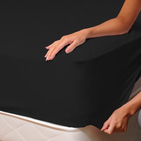 Black - Drap Housse / Satin de 100% Coton Linge de Lit