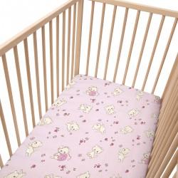 Rose Kittens / Lot de 2 Draps Housse - 100% Coton linge de lit pour bébé