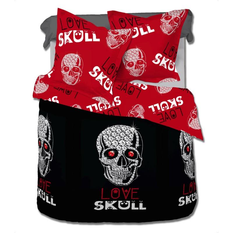 Love skull le cr ne parure de lit 100 coton housse for Housse de couette love