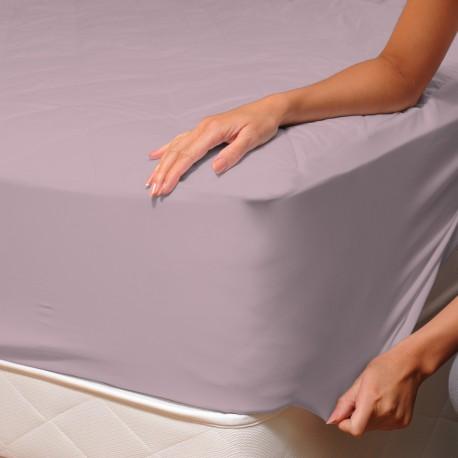 rose cendr drap housse satin de 100 coton linge de lit soulbedroom. Black Bedroom Furniture Sets. Home Design Ideas