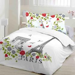 Paris - Parure de Lit, 100% Coton (Housse de couette et Taies d'oreiller)