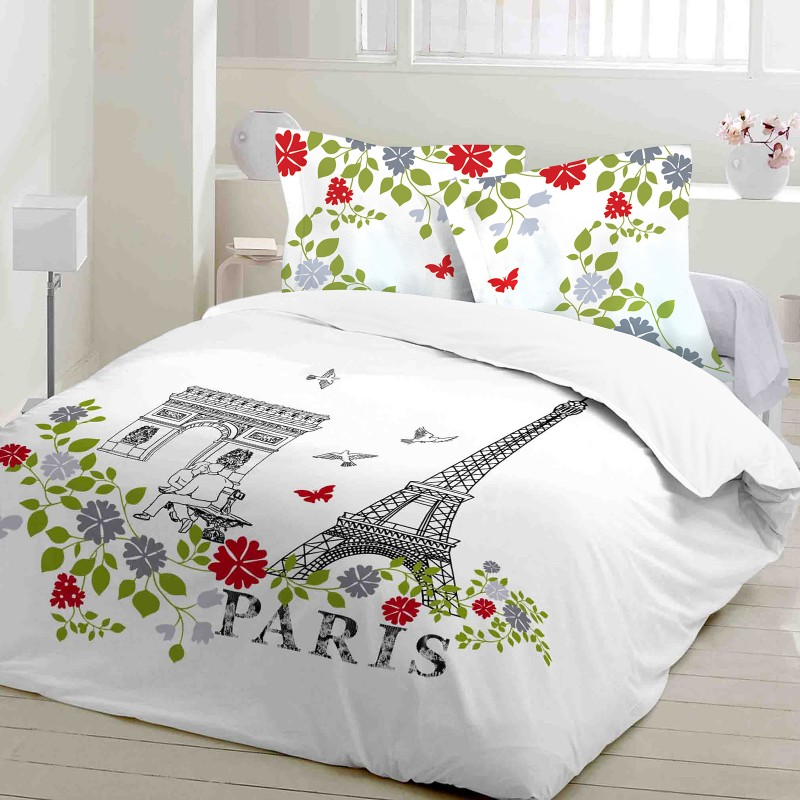 paris parure de lit 100 coton housse de couette et taies d 39 oreiller soulbedroom. Black Bedroom Furniture Sets. Home Design Ideas