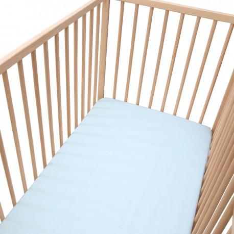 Bleu Clair / Lot de 2 Draps Housse - 100% Coton linge de lit pour bébé