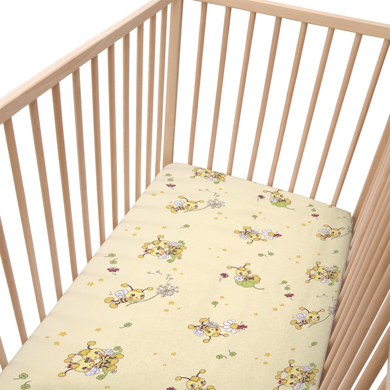 les petites abeilles lot de 2 draps housse 100 coton linge de lit pour b b soulbedroom. Black Bedroom Furniture Sets. Home Design Ideas