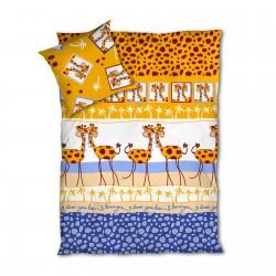 Girafes - Parure de Lit, 100% Coton (Housse de couette et Taies d'oreiller)