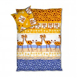 Giraffes - Bed Linen Set, 100% Cotton (Duvet Cover & Pillow Cases)