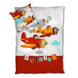 Aviator / Planes - Parure de Lit, 100% Coton (Housse de couette et Taies d'oreiller)
