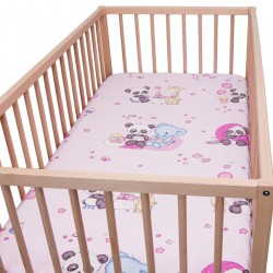 Panda et ses amis / Lot de 2 Draps Housse - 100% Coton linge de lit pour bébé et enfant