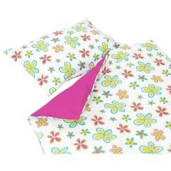 Les Fleurs colorées - 100% Coton parure de lit pour bébé (Housse de couette et Taie d'oreiller)