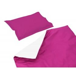 Baby Cyclamen et Blanc - 100% Coton parure de lit pour bébé (Housse de couette et Taie d'oreiller)