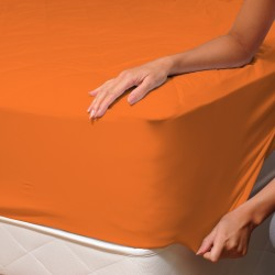 Orange - Drap Housse / 100% Coton Linge de Lit