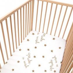 Baby Make a wish / Lot de 2 Draps Housse - 100% Coton linge de lit pour bébé et enfant