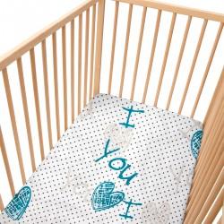 I Love You / Lot de 2 Draps Housse - 100% Coton linge de lit pour bébé et enfant