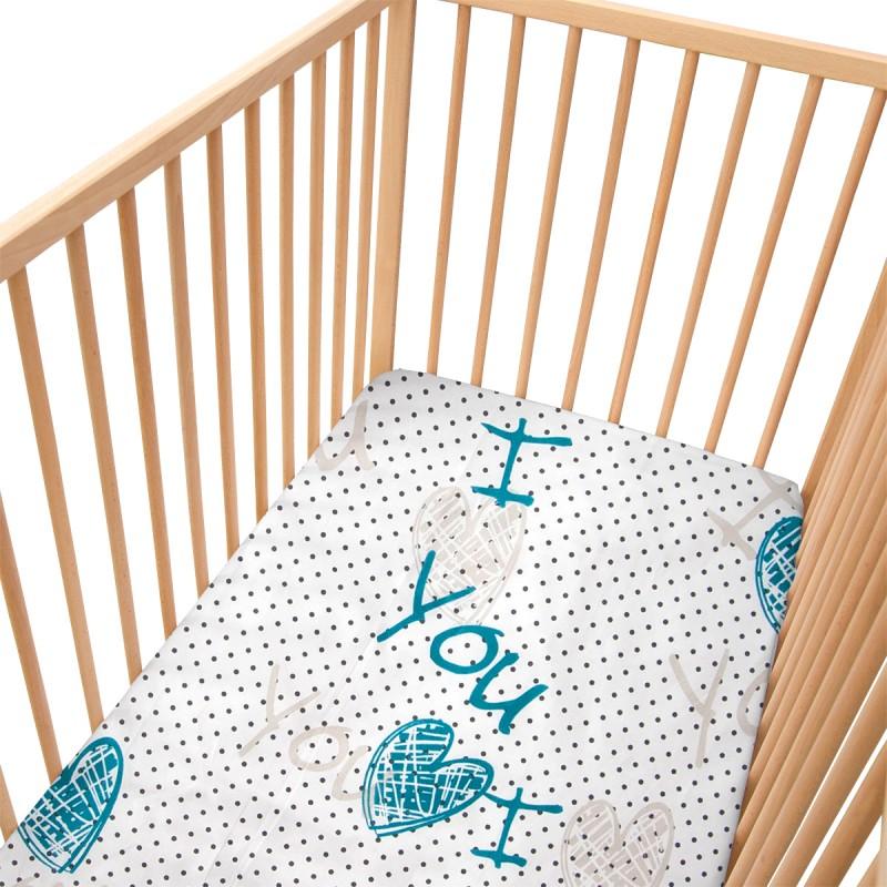 i love you lot de 2 draps housse 100 coton linge de. Black Bedroom Furniture Sets. Home Design Ideas