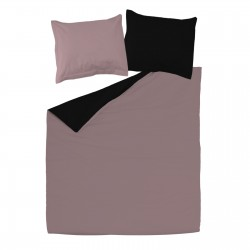Black and Ash Pink - 100% Cotton Reversible Bed Linen Set (Duvet Cover & Pillow Cases)