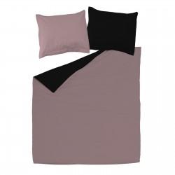 Black & Ash Pink - 100% Cotton Reversible Bed Linen Set (Duvet Cover & Pillow Cases)