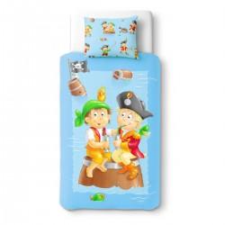 Baby Pirates au goûter - 100% Coton parure de lit pour bébé (Housse de couette et Taie d'oreiller)