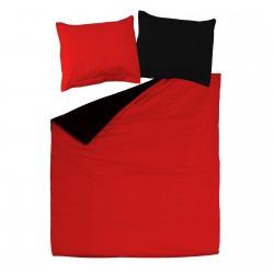 Noir et Rouge - 100% Coton Parure de Lit Réversible (Housse de couette et Taies d'oreiller)