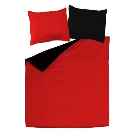 Noir & Rouge - 100% Coton Parure de Lit (Housse de couette Réversible et Taies d'oreiller)
