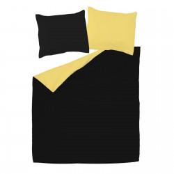 Noir et Jaune - 100% Coton Parure de Lit Réversible (Housse de couette et Taies d'oreiller)
