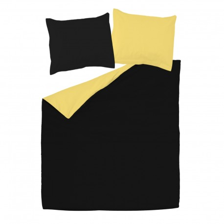 Black & Yellow - 100% Cotton Reversible Bed Linen Set (Duvet Cover & Pillow Cases)