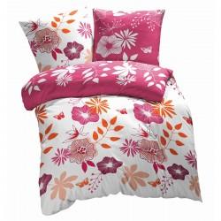 Les Fleurs Coquettes - 100% Coton Parure de Lit (Housse de couette et Taies d'oreiller)