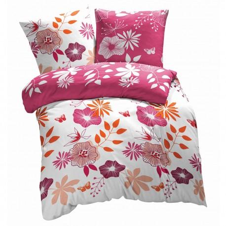 Les Fleur Coquettes - 100% Coton Parure de Lit (Housse de couette et Taies d'oreiller)