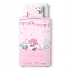Panda et ses amis au goûter - 100% Coton parure de lit pour bébé (Housse de couette et Taie d'oreiller)