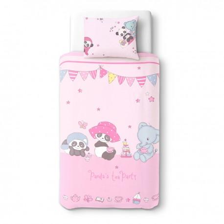 a02cce4d2af0d Panda et ses amis au goûter - 100% Coton parure de lit pour bébé ...